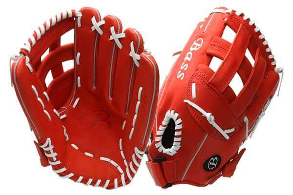 Bass Gloves Big Larry (KBBL Red) at JustBallGloves.com