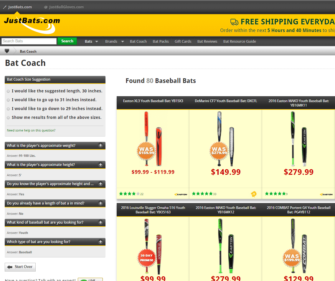 Bat Coach Sizing Tool at JustBats.com
