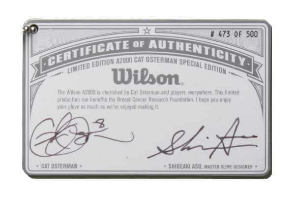 Cat Osterman LEHOPE Fastpitch Glove Certificate of Authenticity