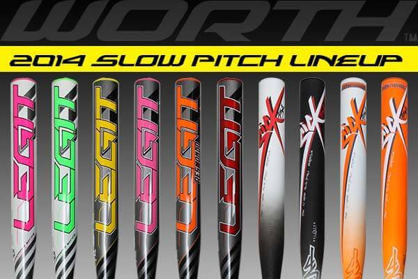 New 2014 Worth Slow Pitch Softball Bats